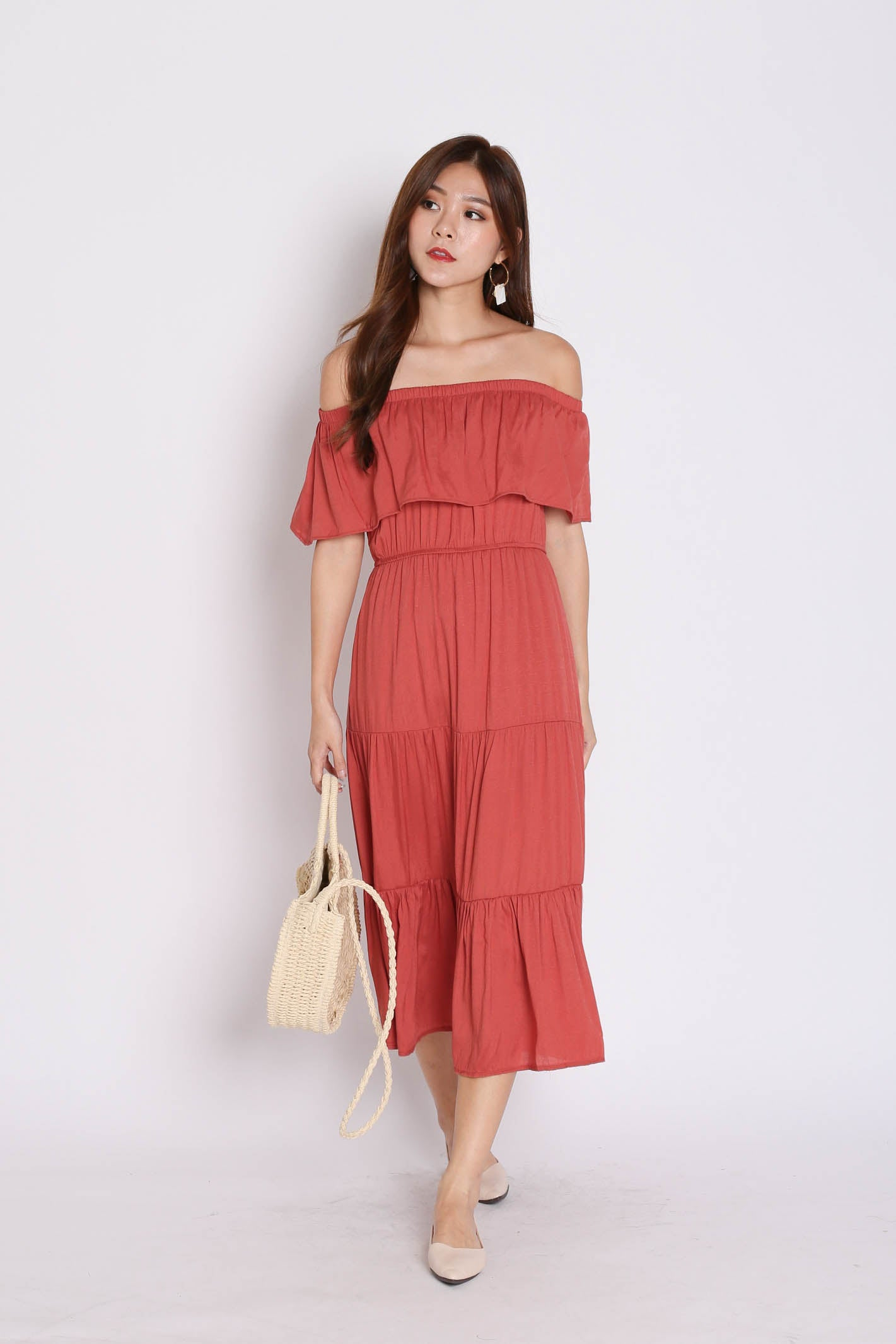 BESS OFF SHOULDER MAXI IN DUSTY CORAL