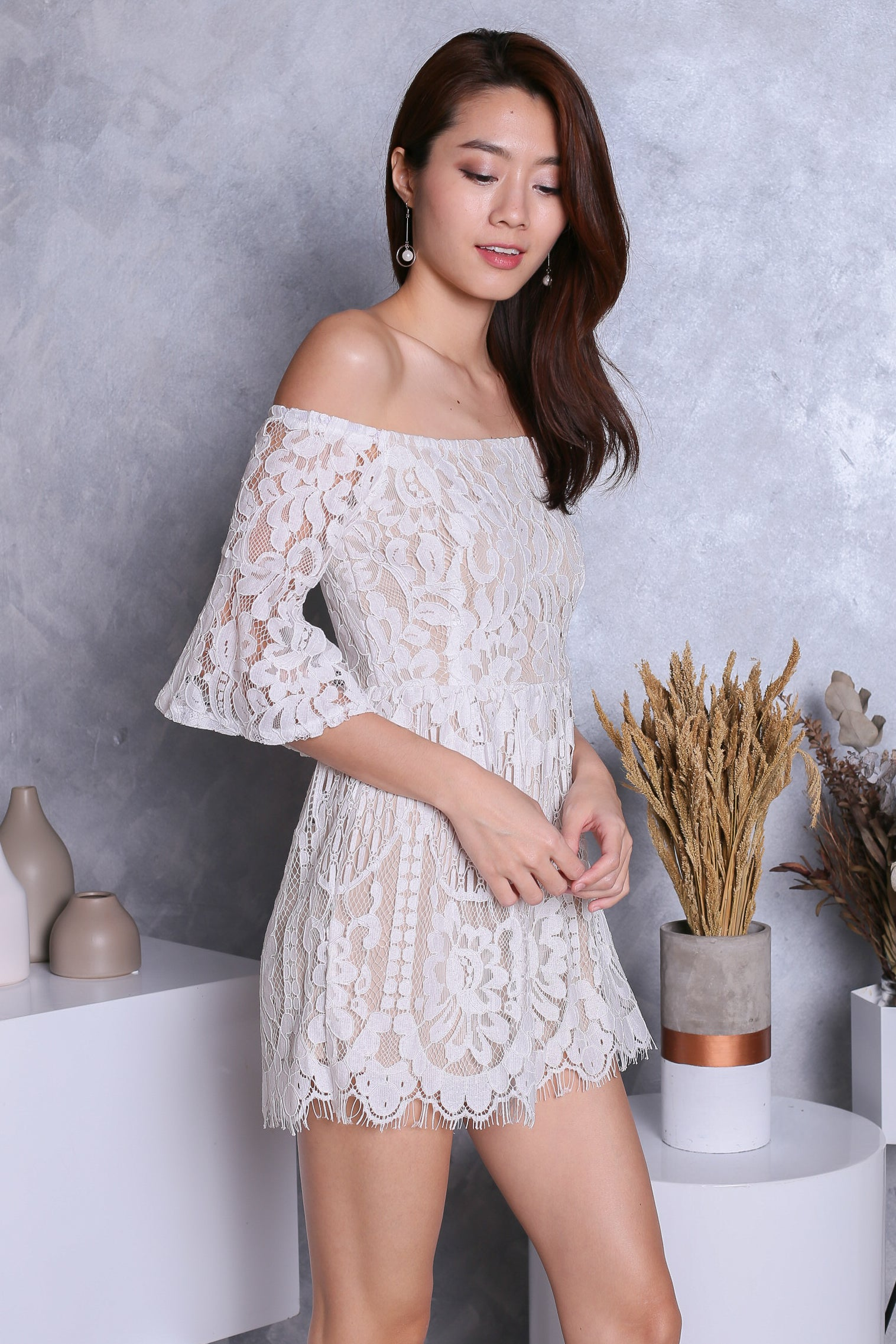 b5b2240913b TOPAZ  (PREMIUM) EUDORA LACE OFF SHOULDER ROMPER IN WHITE – TOPAZETTE