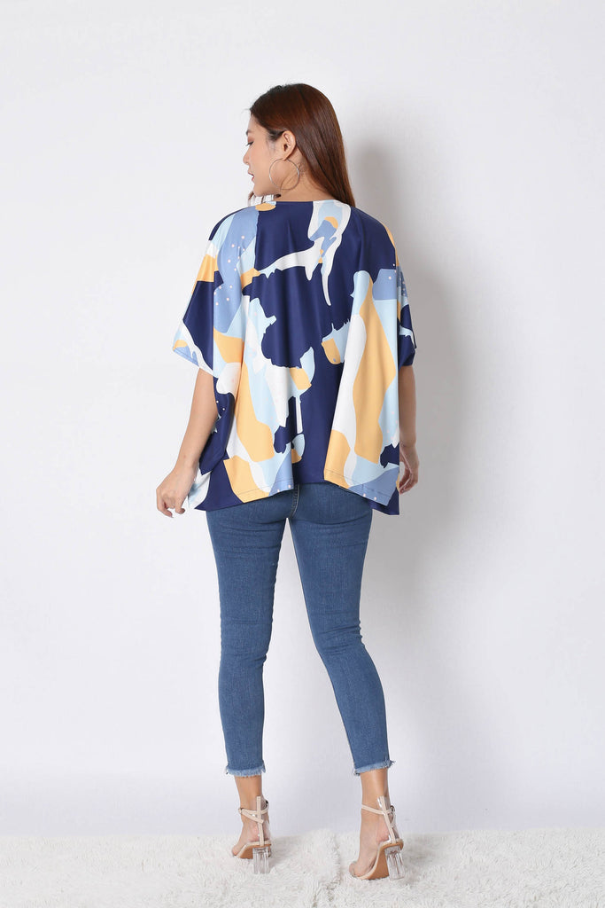 *TPZ* (PREMIUM) KENIX ABSTRACT KIMONO JACKET IN NAVY - TOPAZETTE