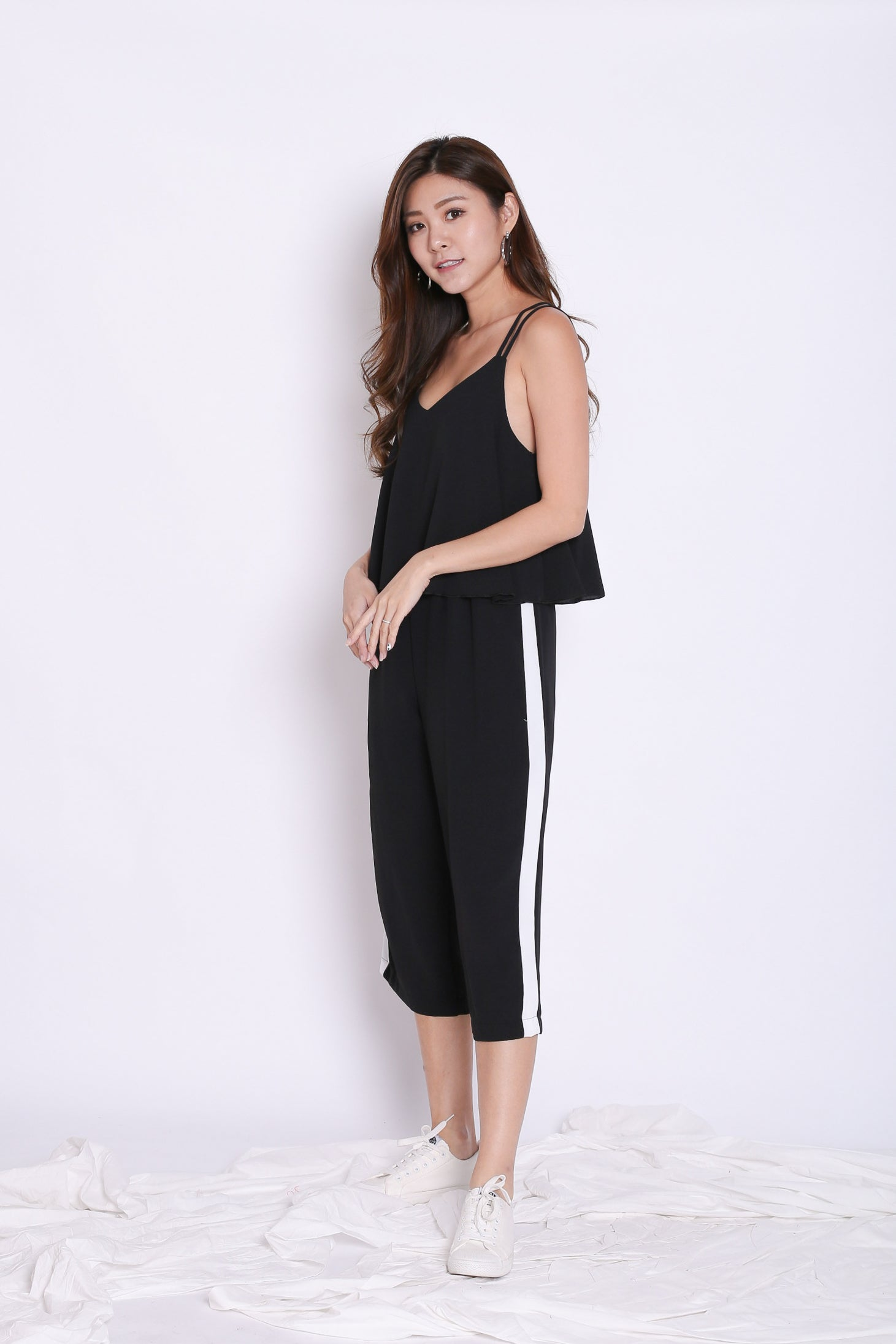 VARSITY CULOTTES JUMPSUIT IN BLACK