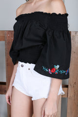 ELV EMBROIDERY SMOCKED TOP IN BLACK
