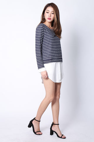 FAUX STRIPES SHIRT IN NAVY - TOPAZETTE