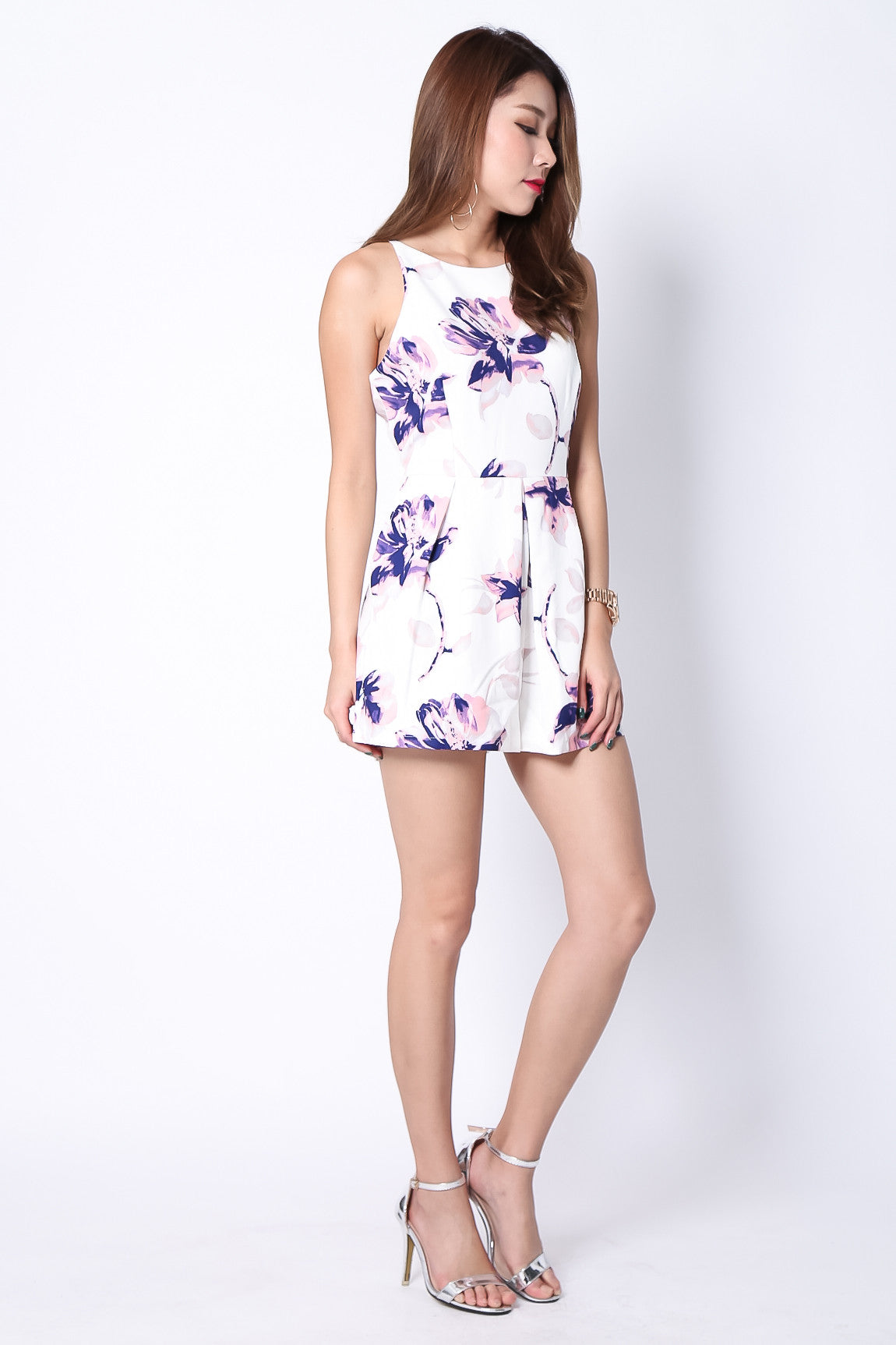 *RESTOCKED* (PREMIUM) FLORAL CRUSH ROMPER IN WHITE - TOPAZETTE