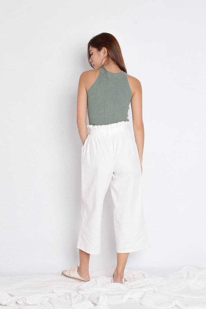 BEVIE HALTER SOFT KNIT TOP IN SAGE GREEN