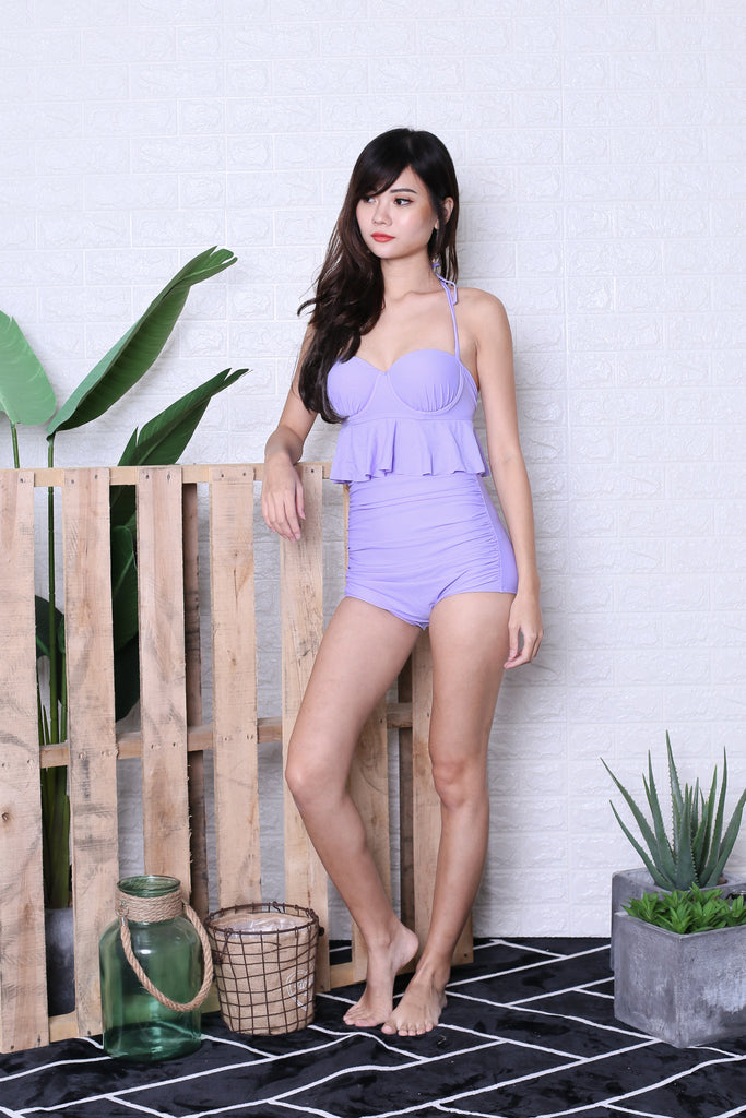 *RESTOCKED* AVALON PEPLUM HIGH WAIST BIKINI SET (LILAC) - TOPAZETTE