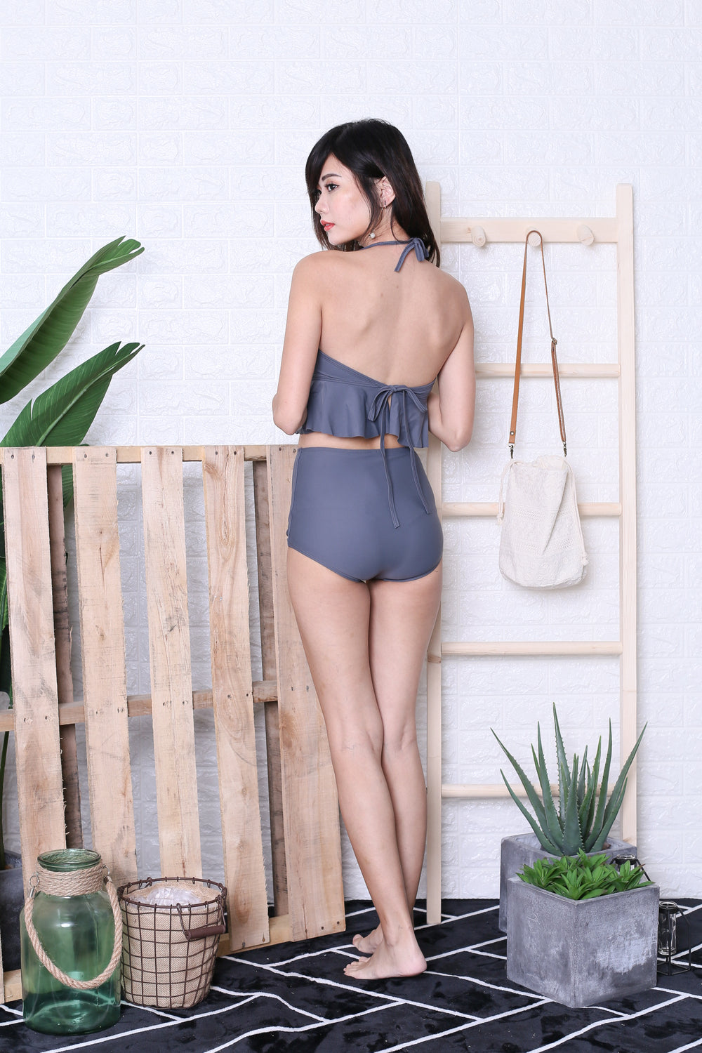 AVALON PEPLUM HIGH WAIST BIKINI SET (METAL GREY)