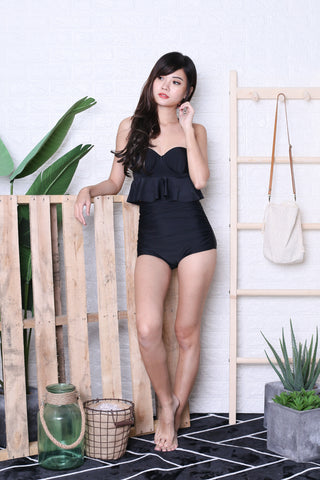 *RESTOCKED* AVALON PEPLUM HIGH WAIST BIKINI SET (BLACK)