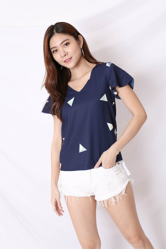 *TPZ* (PREMIUM) ISLA REVERSIBLE SLEEVED TOP (BLUE/ NAVY PRINT)