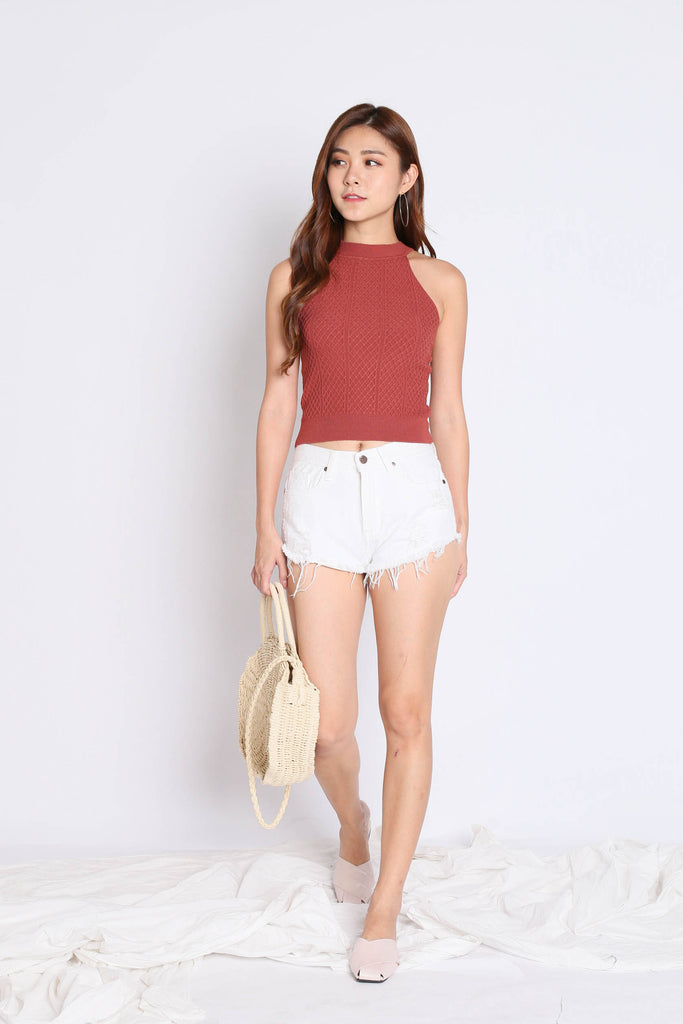 *BACKORDER* BEVIE HALTER SOFT KNIT TOP IN TERRACOTTA - TOPAZETTE