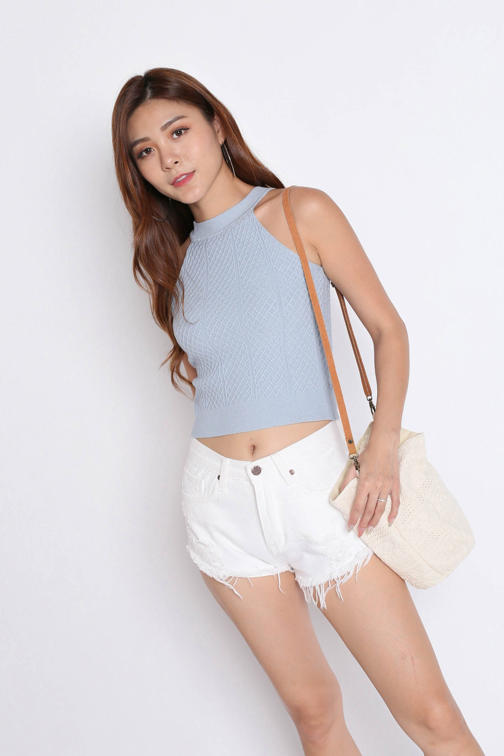 BEVIE HALTER SOFT KNIT TOP IN DUSTY BLUE