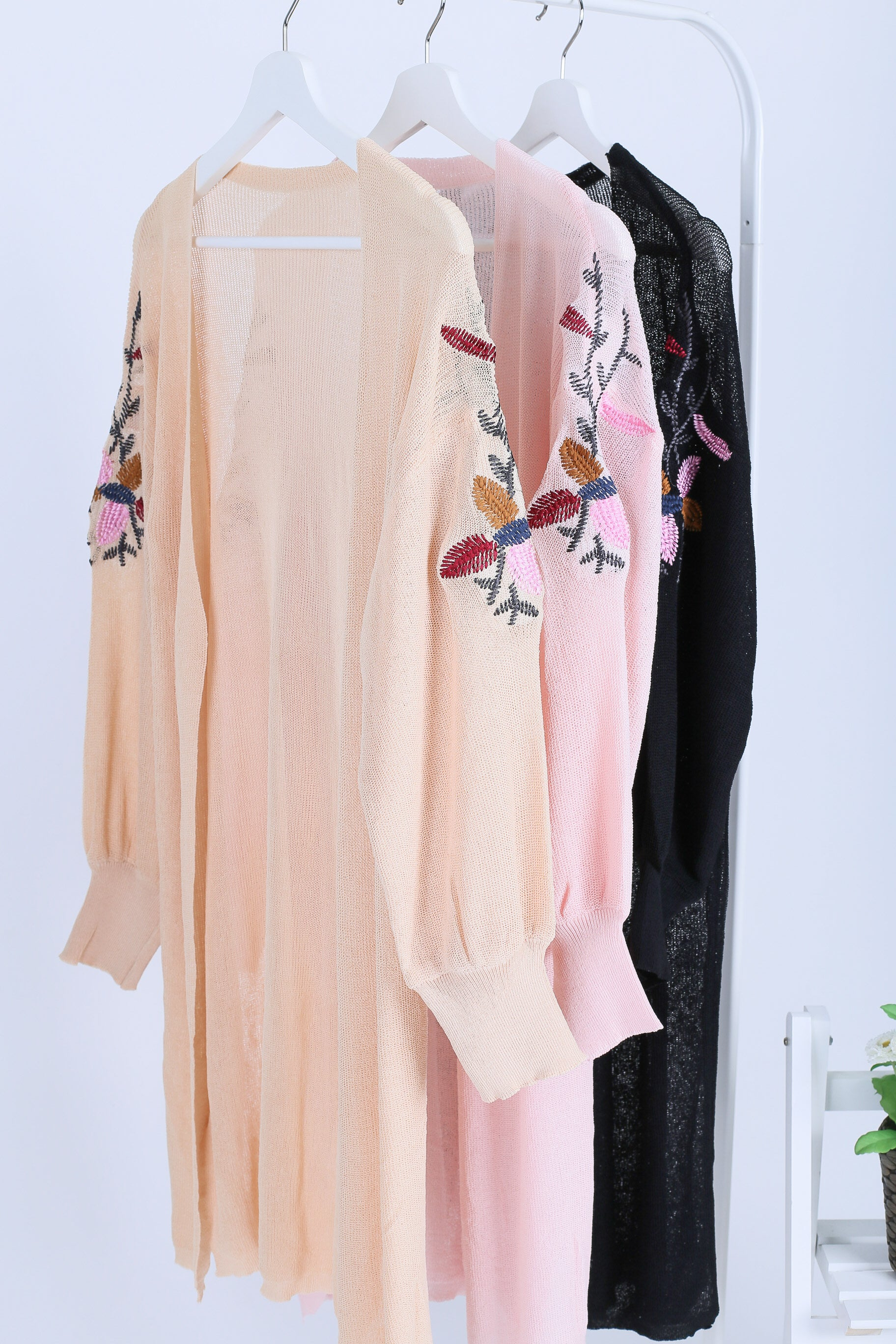 HARA FLORAL EMBROIDERY CARDIGAN IN PEACH