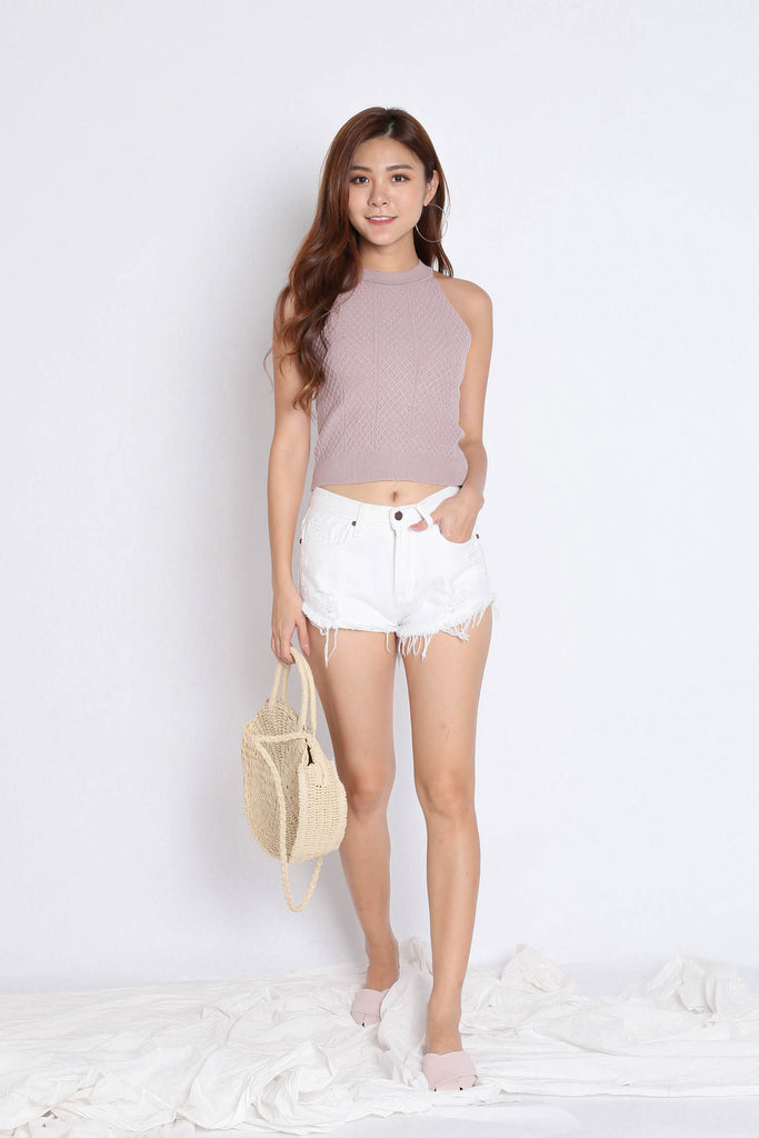 BEVIE HALTER SOFT KNIT TOP IN MAUVE