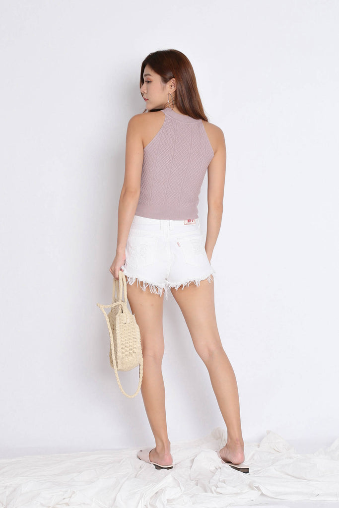 BEVIE HALTER SOFT KNIT TOP IN MAUVE - TOPAZETTE