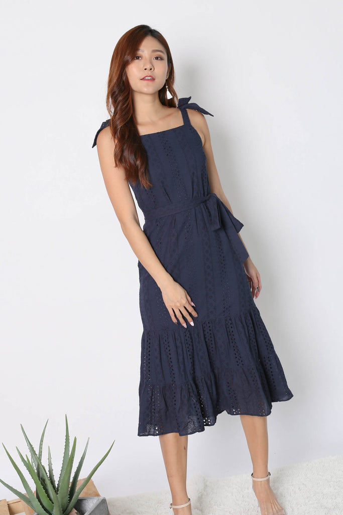 *TPZ* (PREMIUM) BEX EYELET RIBBON DRESS IN NAVY - TOPAZETTE