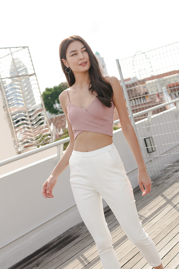 *TPZ* ODELL CROSS WRAP CROP TOP IN DUSTY PINK