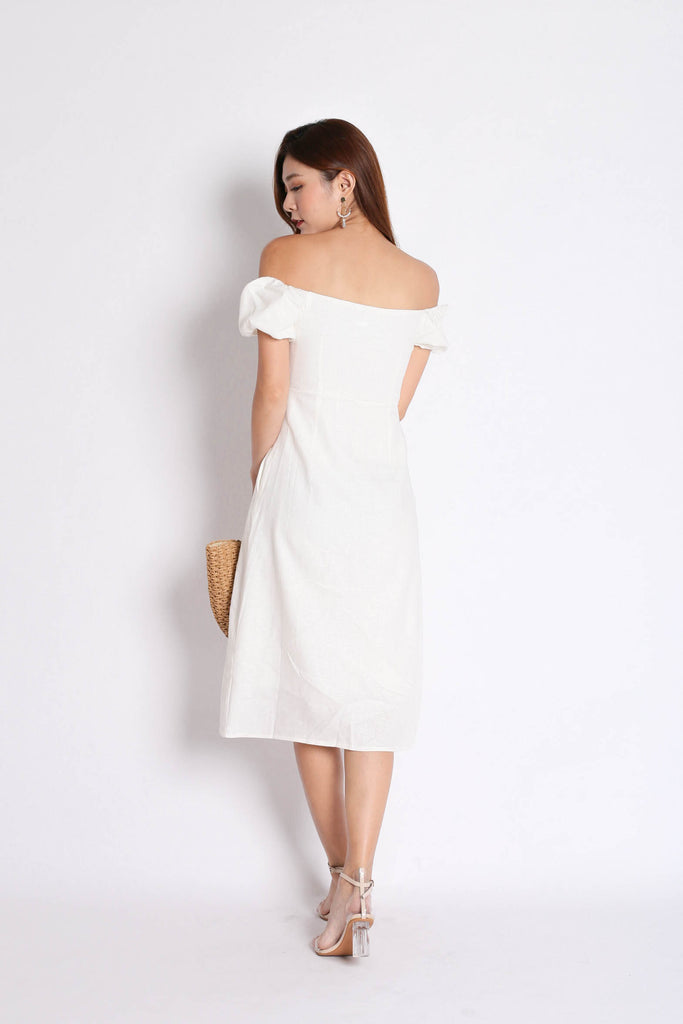 (PREMIUM) MEGANE LINEN OFF SHOULDER DRESS IN WHITE - TOPAZETTE