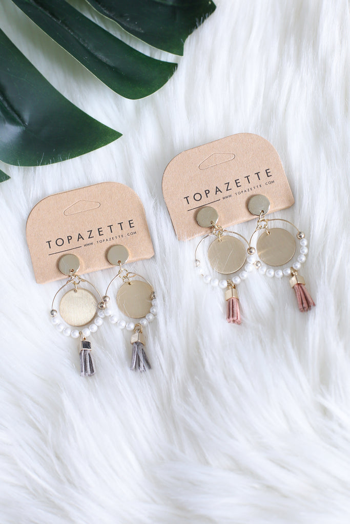 PEARL HOOP X MINI TASSELS EARRINGS - TOPAZETTE