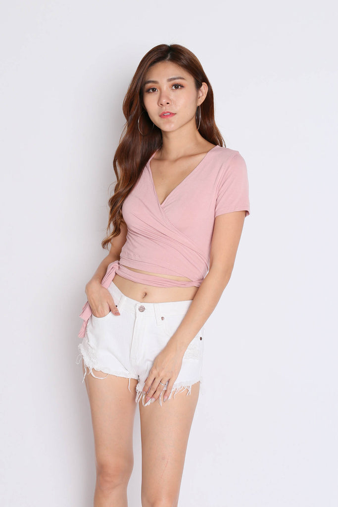 WRAP ME UP TOP IN DUSTY PINK - TOPAZETTE