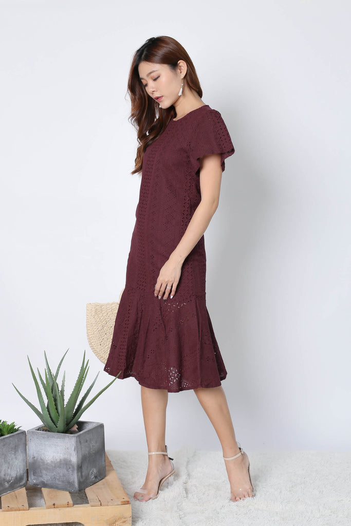 *TPZ* (PREMIUM) VERNISE SLEEVED EYELET DRESS IN PLUM - TOPAZETTE