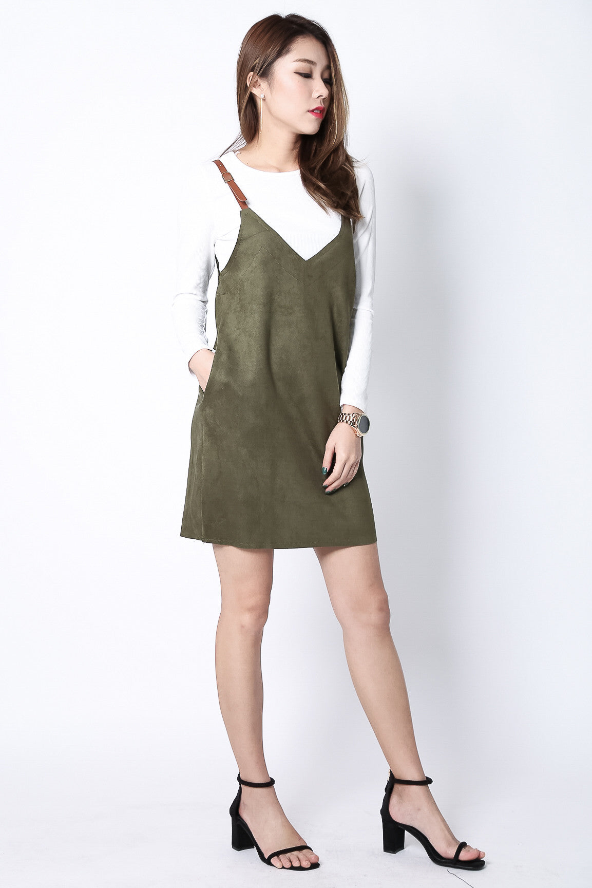 (RESTOCKED) KEEP THE FAITH 2PC DRESS SET IN OLIVE - TOPAZETTE