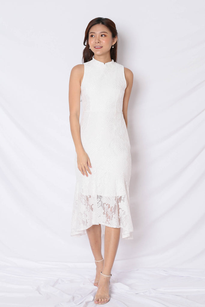 *TPZ* (PREMIUM) PAVLA REMOVABLE COLLAR ASYMMETRICAL LACE DRESS IN WHITE - TOPAZETTE