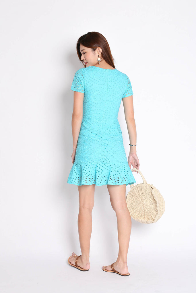 *TPZ* (PREMIUM) KIARA EYELET DRESS IN BRIGHT TURQUOISE - TOPAZETTE