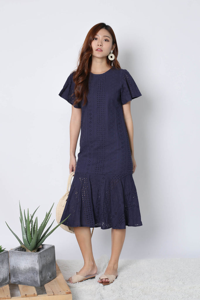 *TPZ* (PREMIUM) VERNISE SLEEVED EYELET DRESS IN NAVY - TOPAZETTE