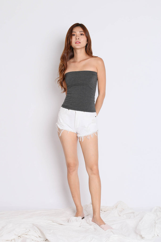 THE VERY BASIC TUBE TOP IN DARK GREY - TOPAZETTE