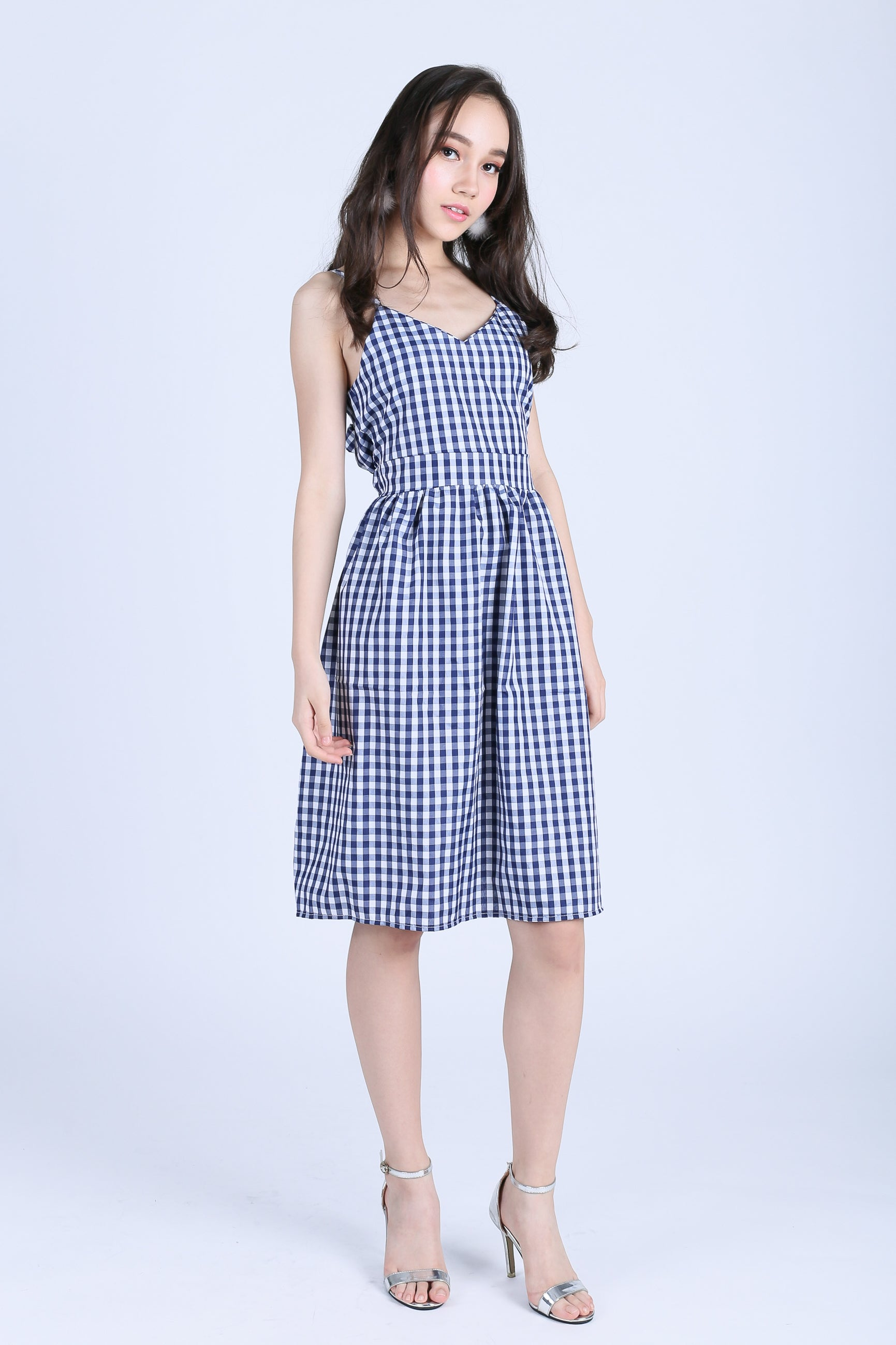 GINGHAM RIBBON BACK MIDI DRESS IN BLUE