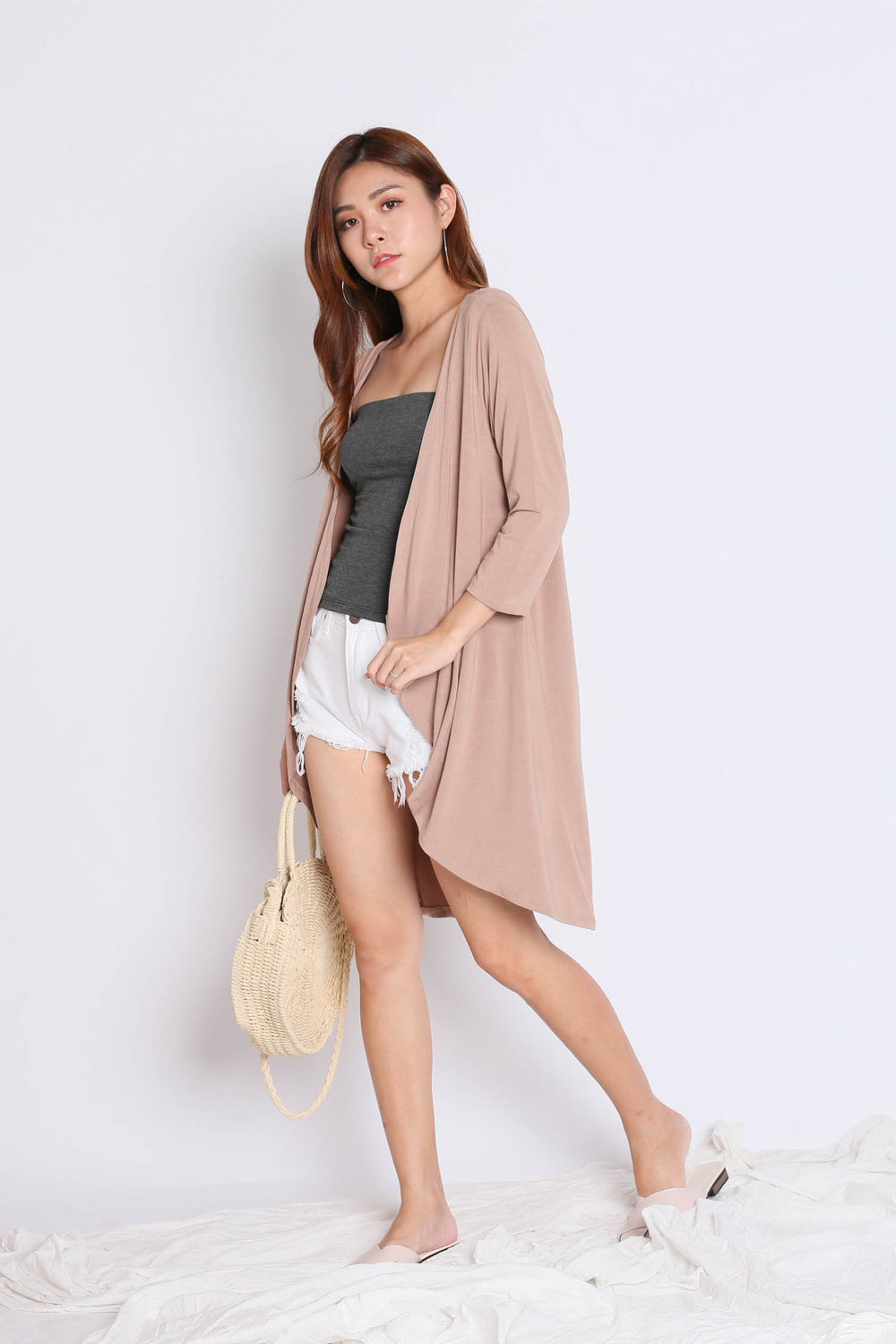 EVERYDAY COTTON LONGLINE CARDIGAN IN TAUPE