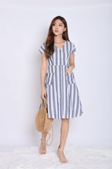 *TPZ* (PREMIUM) URBAN POCKET BUTTON DRESS IN DARK BLUE STRIPES