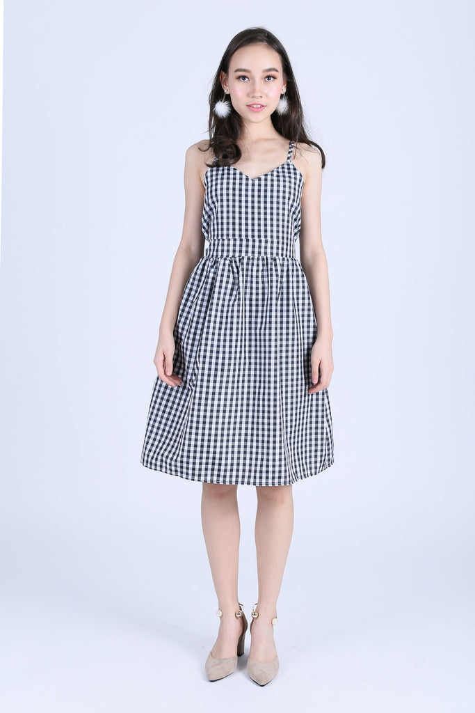 GINGHAM RIBBON BACK MIDI DRESS IN BLACK