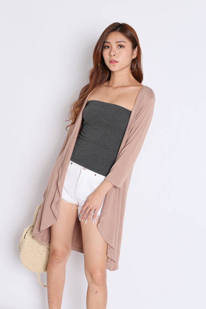 EVERYDAY COTTON LONGLINE CARDIGAN IN TAUPE - TOPAZETTE