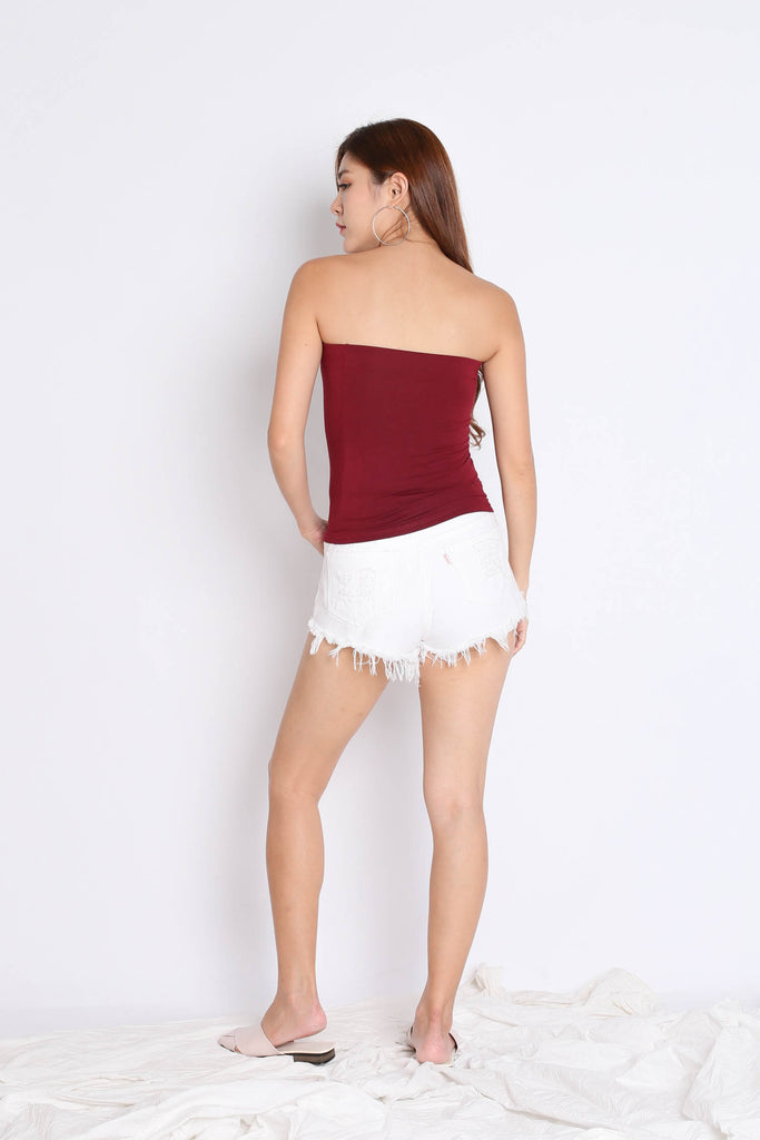 THE VERY BASIC TUBE TOP IN BURGUNDY - TOPAZETTE