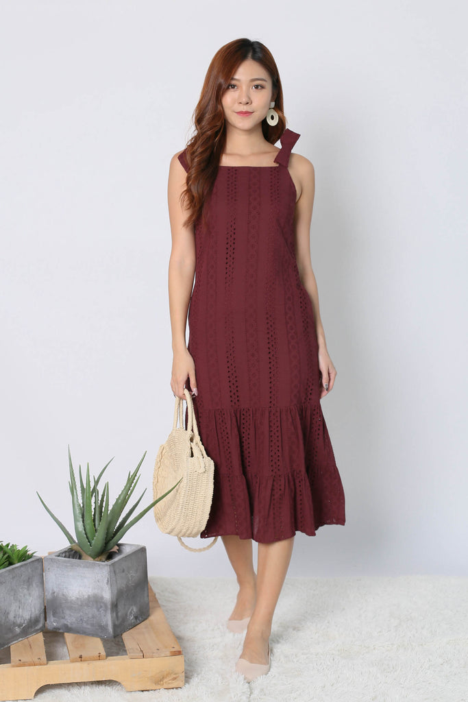 *TPZ* (PREMIUM) BEX EYELET RIBBON DRESS IN PLUM - TOPAZETTE