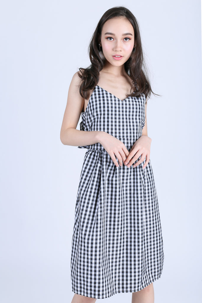 GINGHAM RIBBON BACK MIDI DRESS IN BLACK - TOPAZETTE
