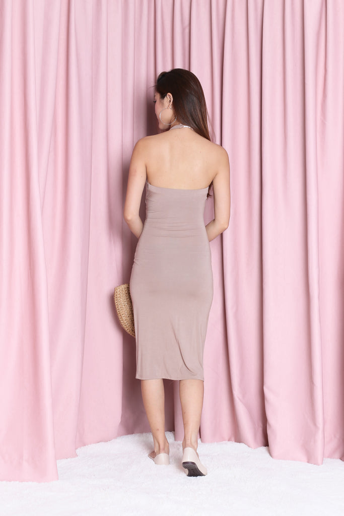 *BACKORDER* ALANA BODYCON DRESS IN TAUPE - TOPAZETTE