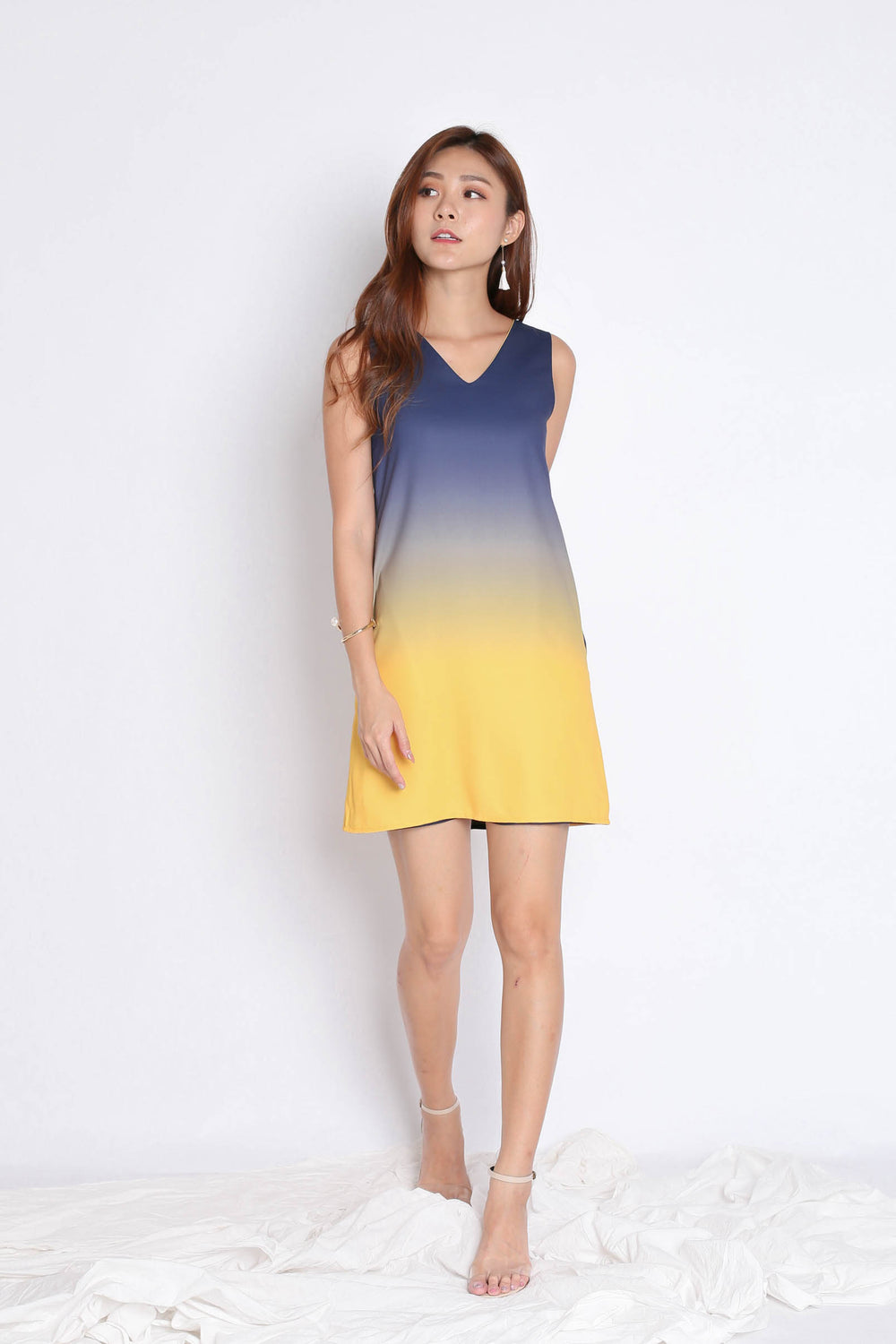 *TPZ* (PREMIUM) SUNRISE 4 WAYS REVERSIBLE OMBRE DRESS (NAVY/ YELLOW)
