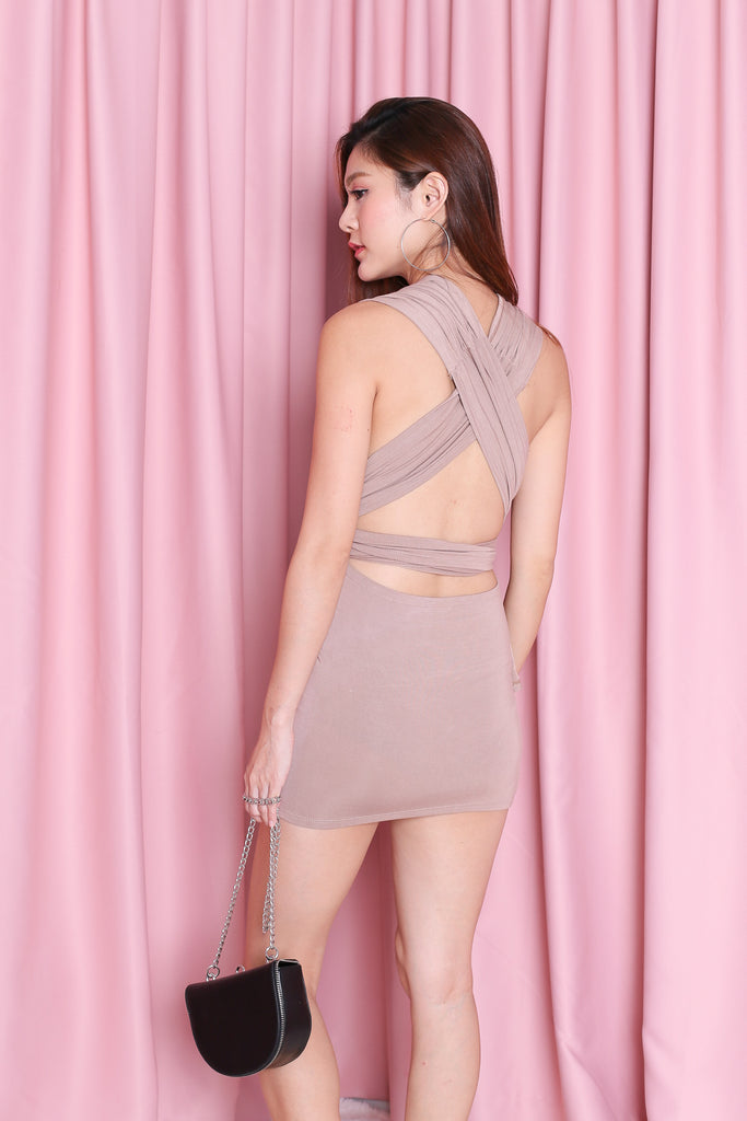 WRAP MULTIWAY DRESS IN TAUPE - TOPAZETTE