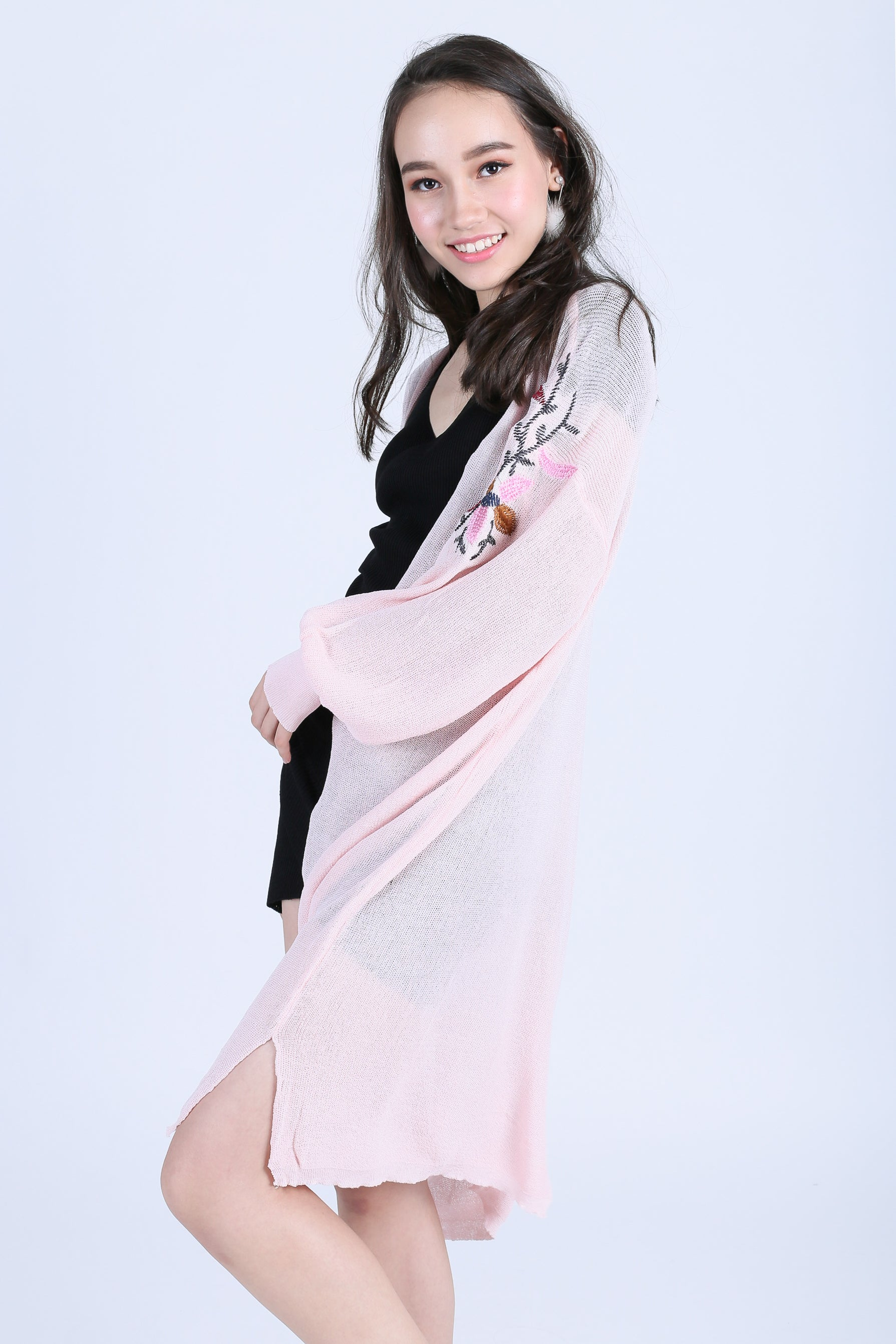 HARA FLORAL EMBROIDERY CARDIGAN IN DUSTY PINK