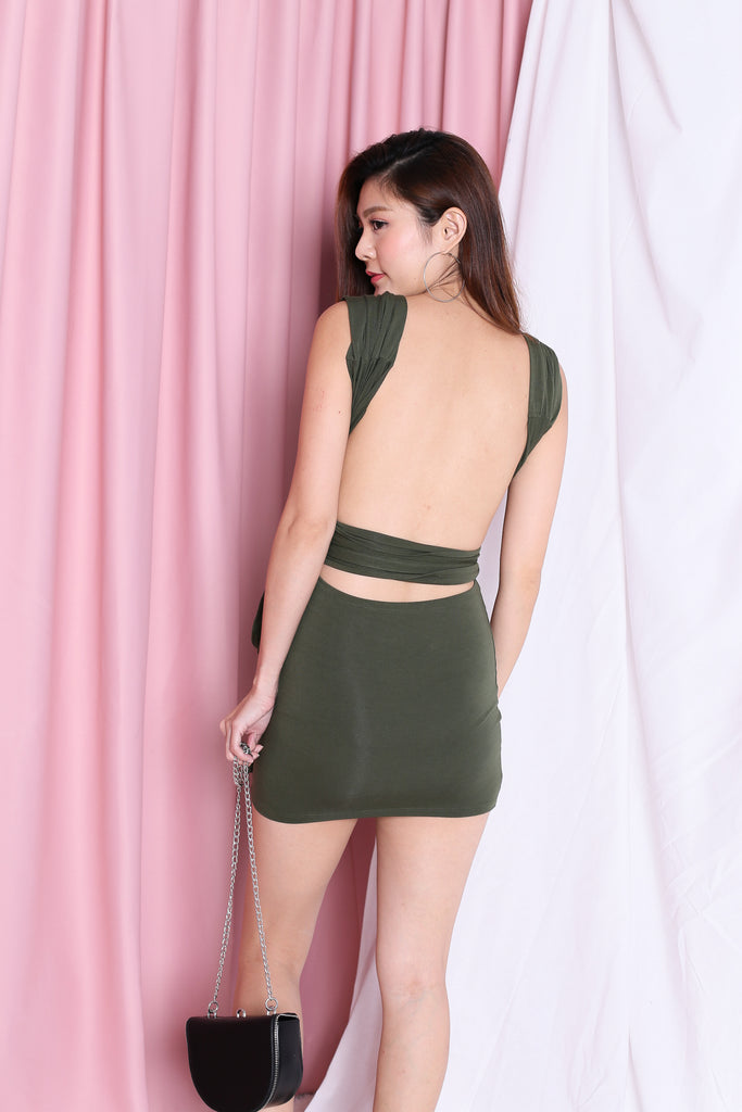 WRAP MULTIWAY DRESS IN ARMY GREEN - TOPAZETTE