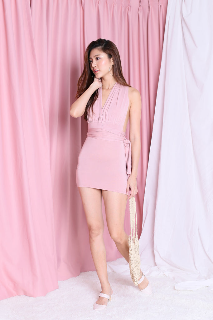 WRAP MULTIWAY DRESS IN DUSTY PINK - TOPAZETTE