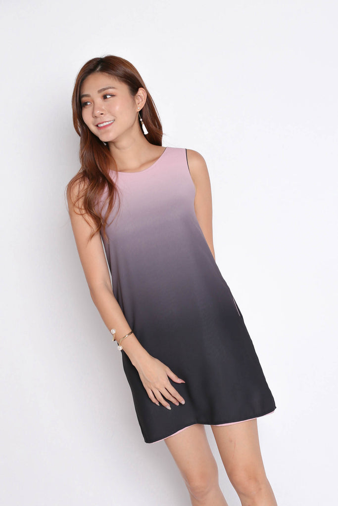 *TPZ* (PREMIUM) SUNRISE 4 WAYS REVERSIBLE OMBRE DRESS (BLACK/ PINK)