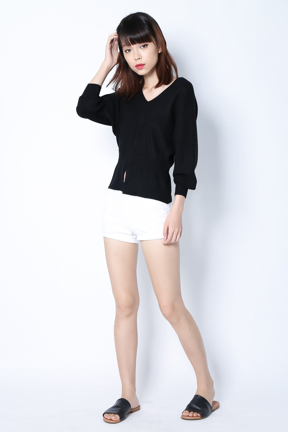 DAYDREAMER KNIT TOP IN BLACK - TOPAZETTE