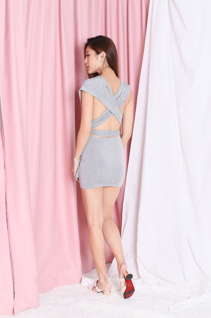 WRAP MULTIWAY DRESS IN LIGHT GREY - TOPAZETTE
