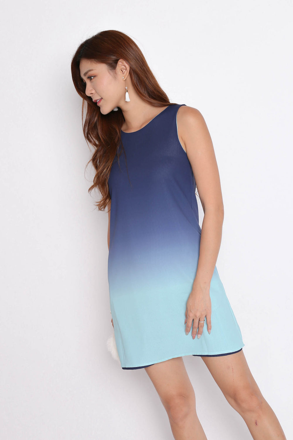 *TPZ* (PREMIUM) SUNRISE 4 WAYS REVERSIBLE OMBRE DRESS (NAVY/ MINT)