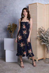 AURA SMOCKED FLORAL DRESS IN NAVY