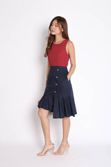 (PREMIUM) OASI LINEN COLOURBLOCK RUFFLES DRESS (BURGUNDY/ NAVY)