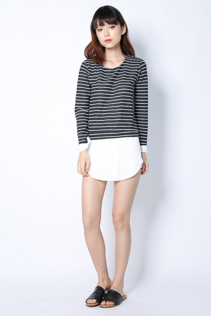 FAUX STRIPES SHIRT IN BLACK - TOPAZETTE