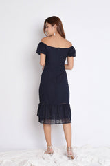 *TPZ* (PREMIUM) YOLA ORGANZA LACE BUTTON DRESS IN NAVY
